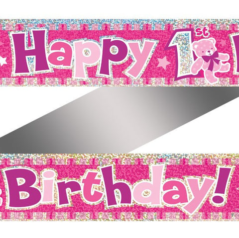 1st Birthday Banner Rosa - Festbutikken AS