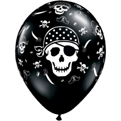 Ballonger Pirate Skull & Cross Bones 28 cm 6-pk - Festbutikken AS