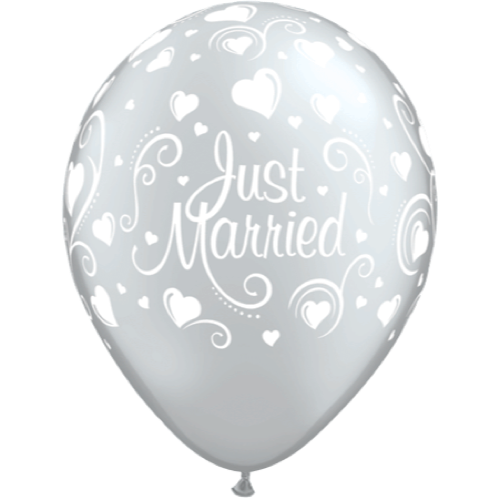 Ballonger Just Married Silver 6-pk - Festbutikken AS