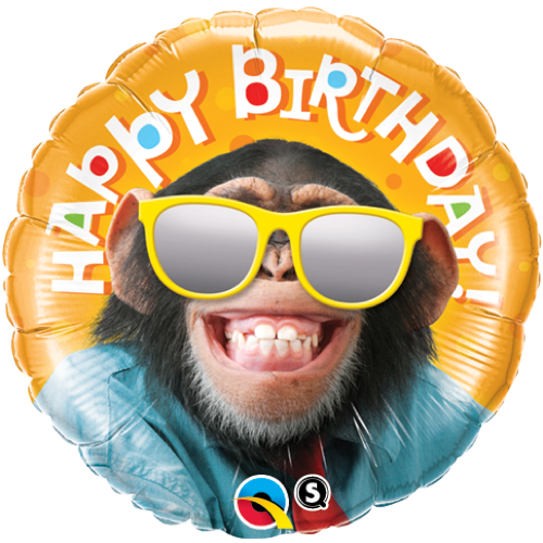 FolieBallong  Birthday Smilin´ Chimp 45cm - Festbutikken AS