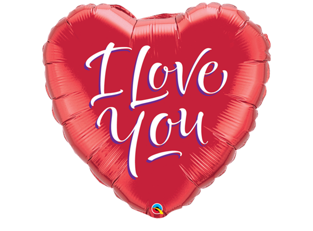 I Love You Modern Script Folieballong - Festbutikken AS