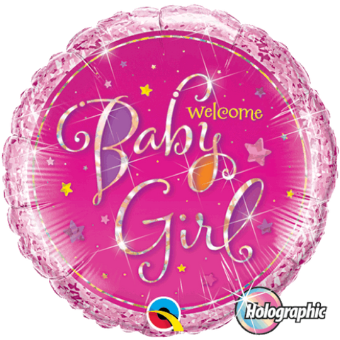 Folieballong Welcome Baby Girl Stars 46 cm - Festbutikken AS