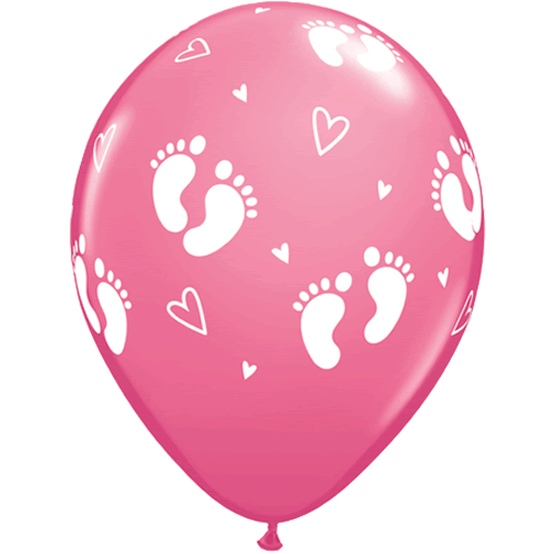 Ballonger Baby Footprints & Hearts Rose 6-pk - Festbutikken AS