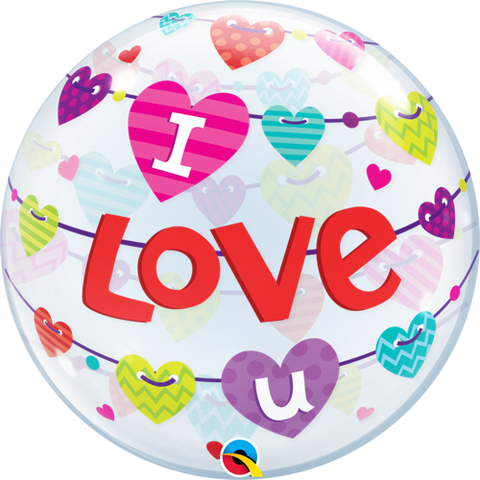 I Love U Banners Hearts 56cm Bubble - Festbutikken AS