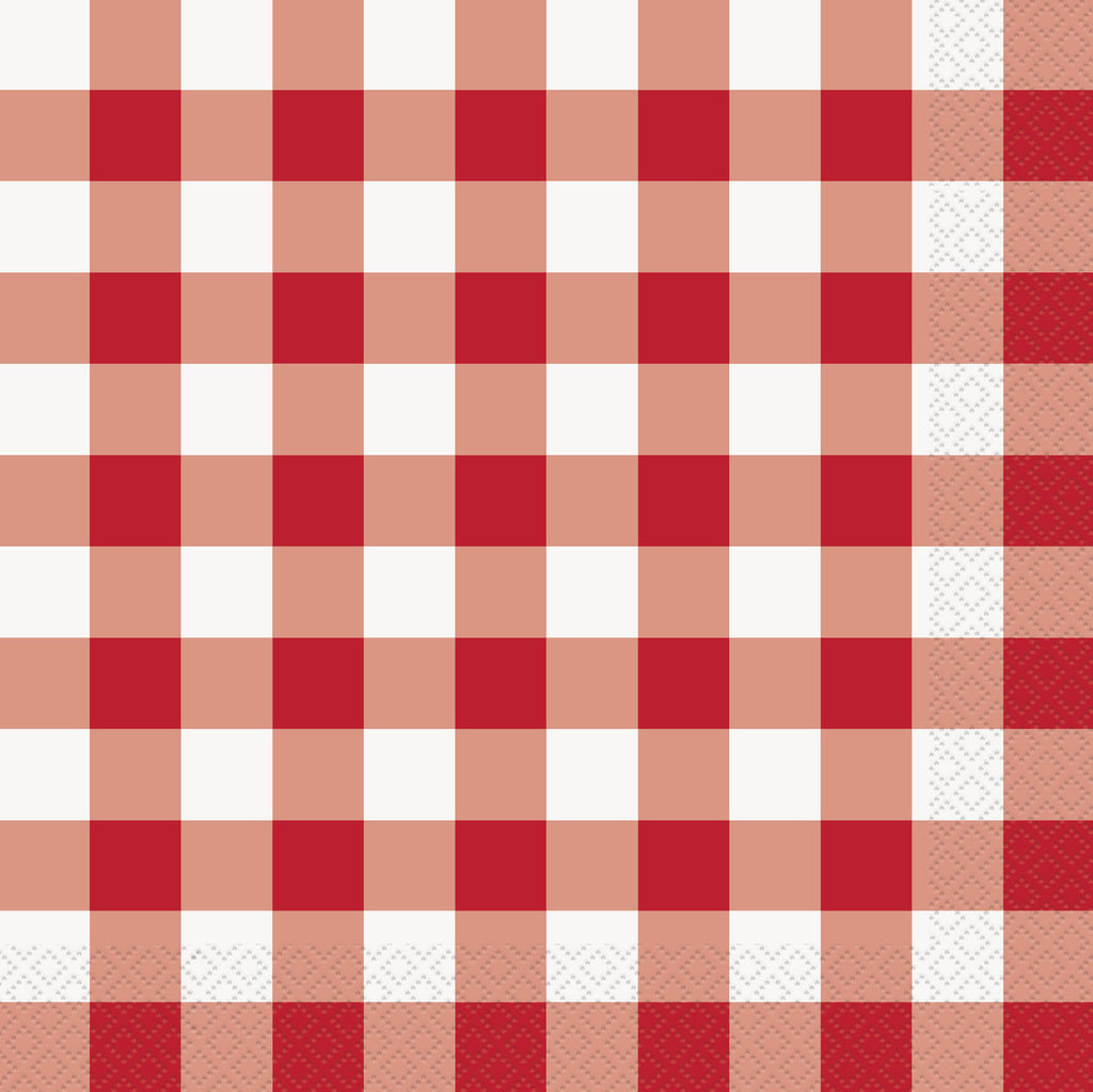 Servietter Red/White Check 16-pk - Festbutikken AS