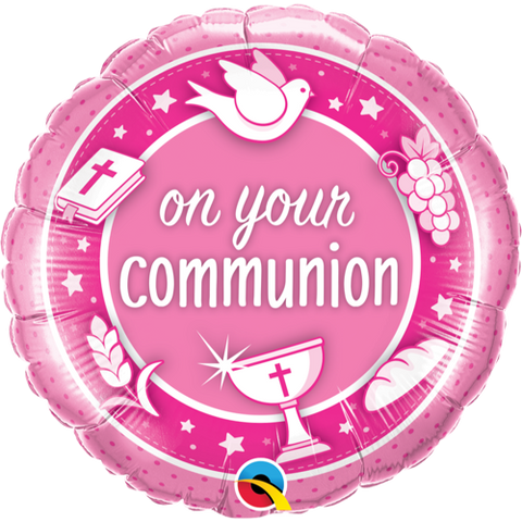 Folieballong On Your Communion Pink 45cm - Festbutikken AS