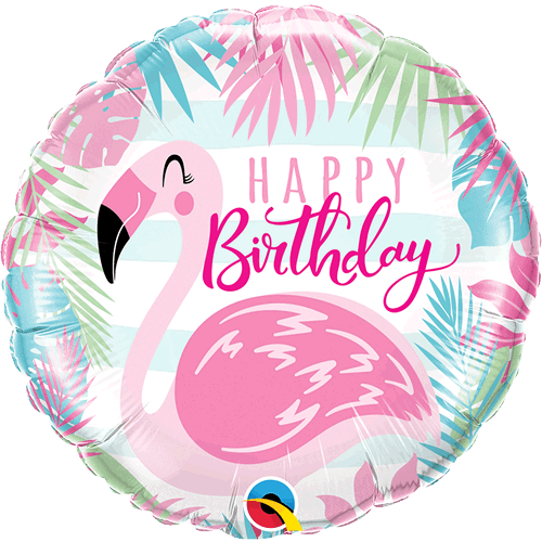 Ballong Birthday Pink Flamingo 46cm - Festbutikken AS