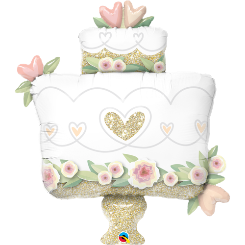 Folieballong Glitter Gold Wedding Cake (104cm) - Festbutikken AS