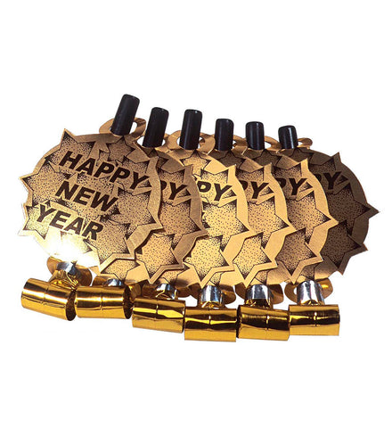 Happy New Year Fløyter Gull 6-pk - Festbutikken AS