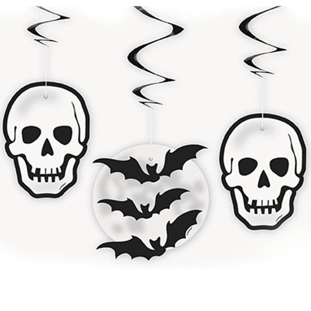 Hanging Decorations Skull/Bat Swirl 3-pk - Festbutikken AS