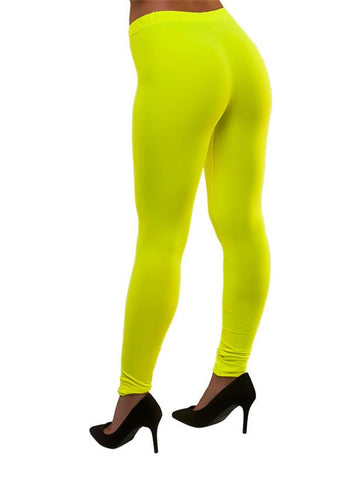 80's Neon Leggings Gul - Festbutikken AS