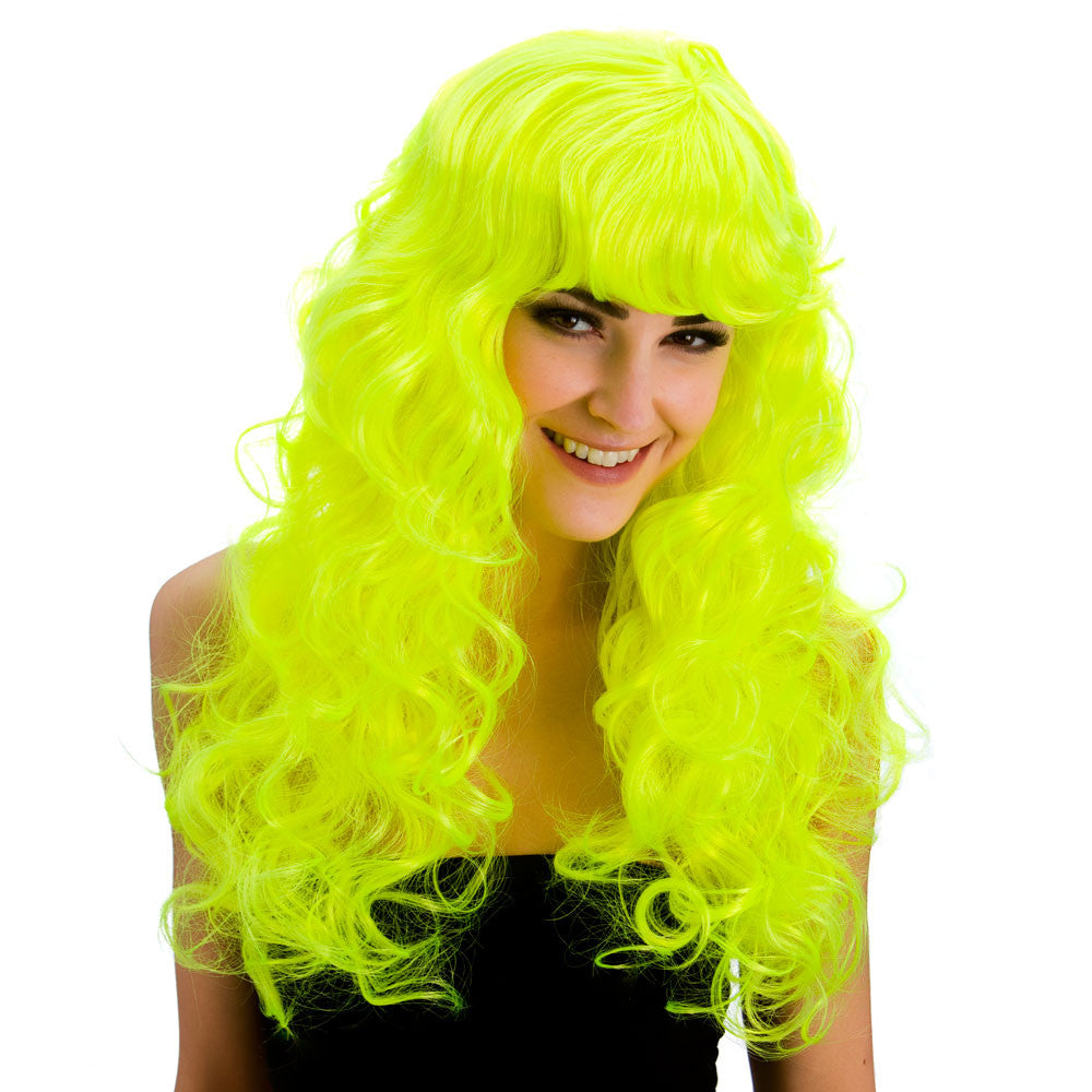 Foxy - Neon Yellow - Parykk - Festbutikken AS