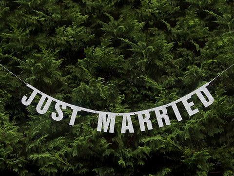 Banner Just Married Sølv - Festbutikken AS
