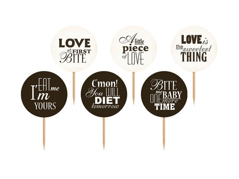 Cupcake Toppers - Sweet Love 6-pk - Festbutikken AS