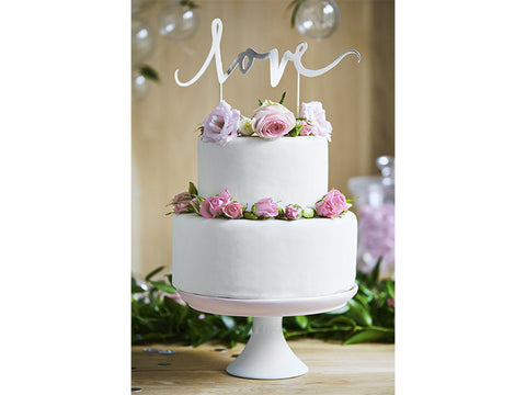 "Kake Topper ""Love"" Sølv - Festbutikken AS"