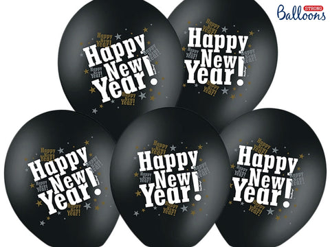 "Ballong Enkel ""Happy New Year"" Sort 50-pk - Festbutikken AS"
