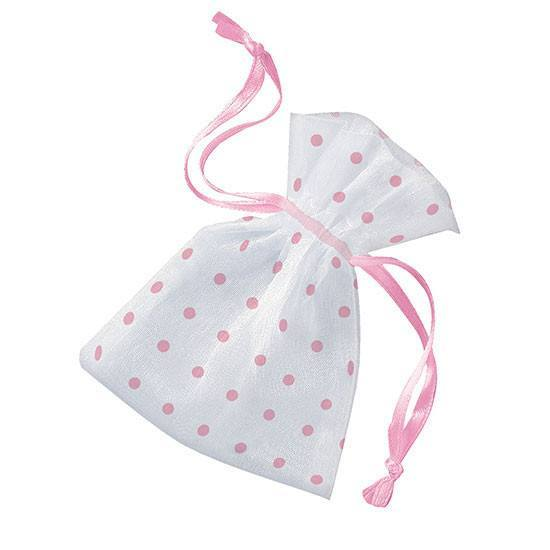 Organzaposer Dots Rosa 6-pk - Festbutikken AS