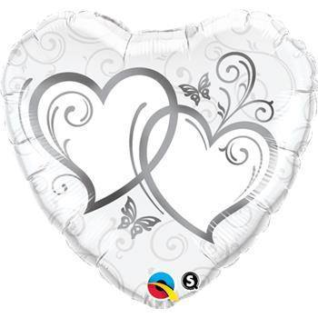Folieballong Entwined Hearts Silver (91 cm) - Festbutikken AS