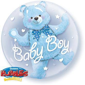 Baby Blue Bear 61cm Double Bubble - Festbutikken AS
