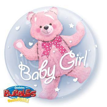 Baby Pink Bear 61cm Double Bubble - Festbutikken AS