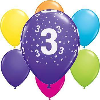 Ballonger Number 3 Stars Tropical Assortm. 6-pk - Festbutikken AS