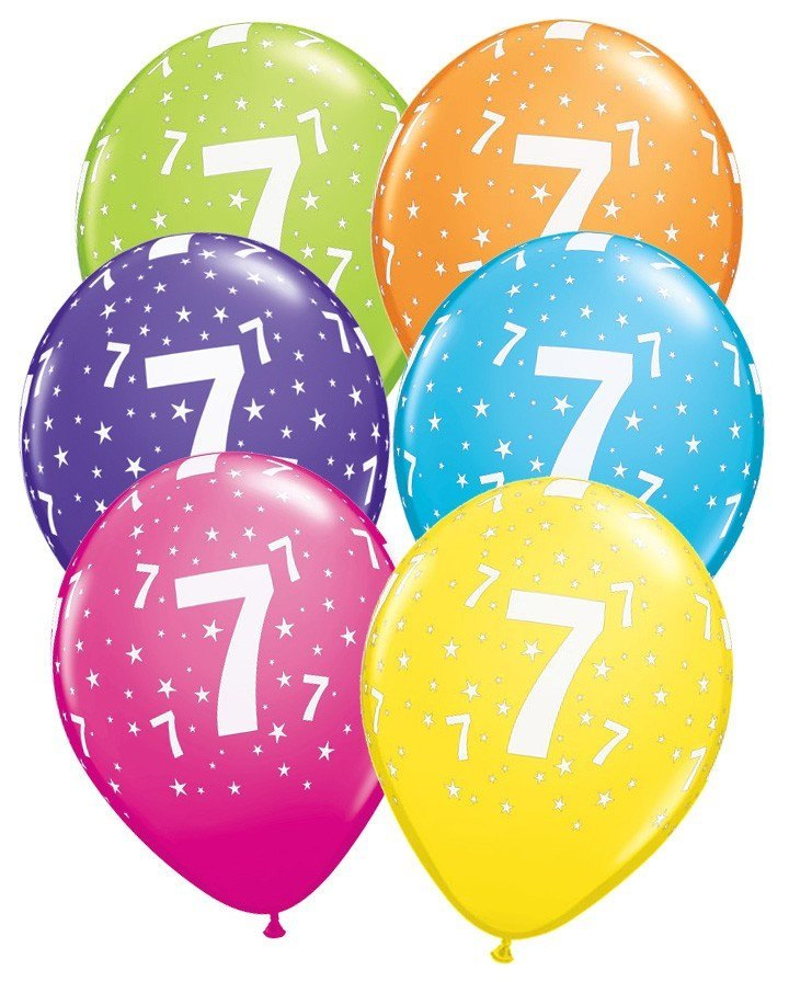 Ballonger Number 7 Stars Tropical Assortm. 6-pk - Festbutikken AS
