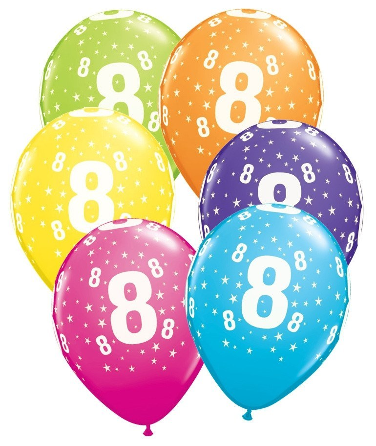 Ballonger Number 8 Stars Tropical Assortm. 6-pk - Festbutikken AS