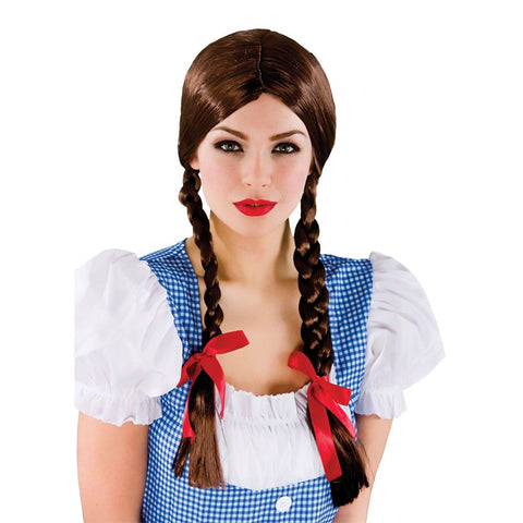 Parykk Country Girl Wig Brun - Festbutikken AS