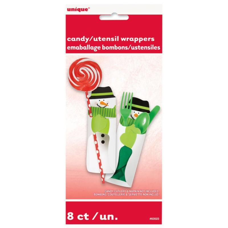 Snowman Candy Wrapers 8-pk - Festbutikken AS