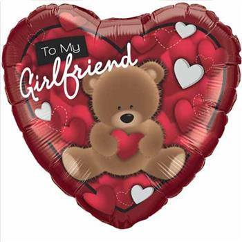 To My Girlfriend Bear 46cm Folieballong - Festbutikken AS