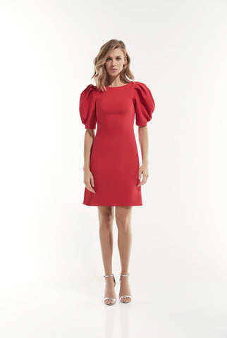 Red dress with puffy sleeves and back closure.   Fabric: 95% polyester, 5% elastane. Lining:  95% polyester, 5% elastane
