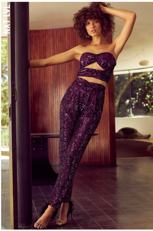 VIOLET SEQUIN PANTS