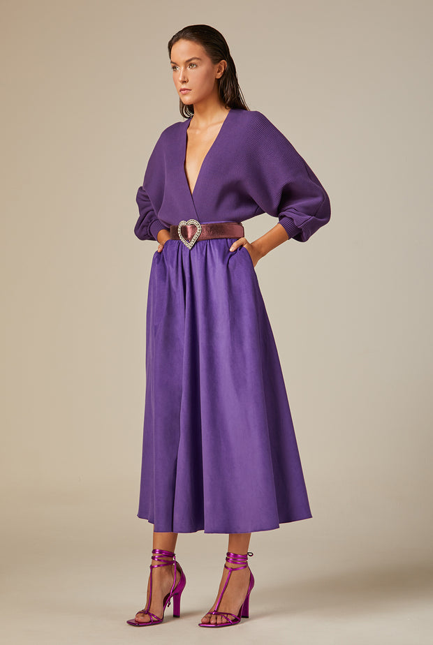 PURPLE VELVET MIDI SKIRT