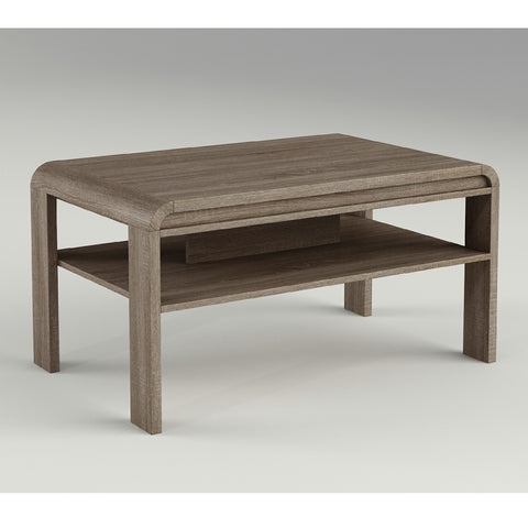 Rounded Edge Coffee Table Walnut Effect   Msek