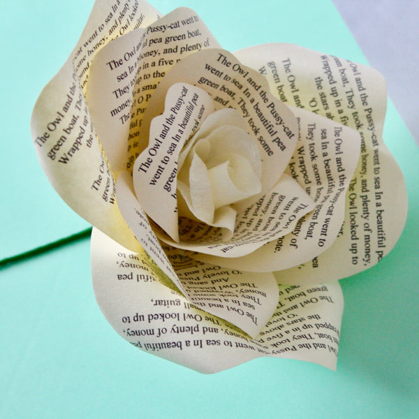 Personalised Newspaper Print Paper Rose