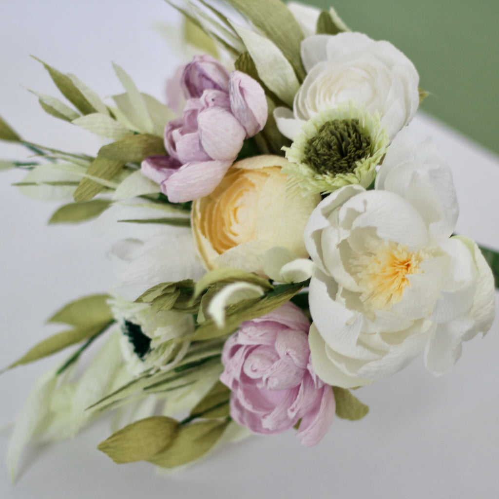 Dusky Green Pink And Cream Bouquet Paper Posies Ldn