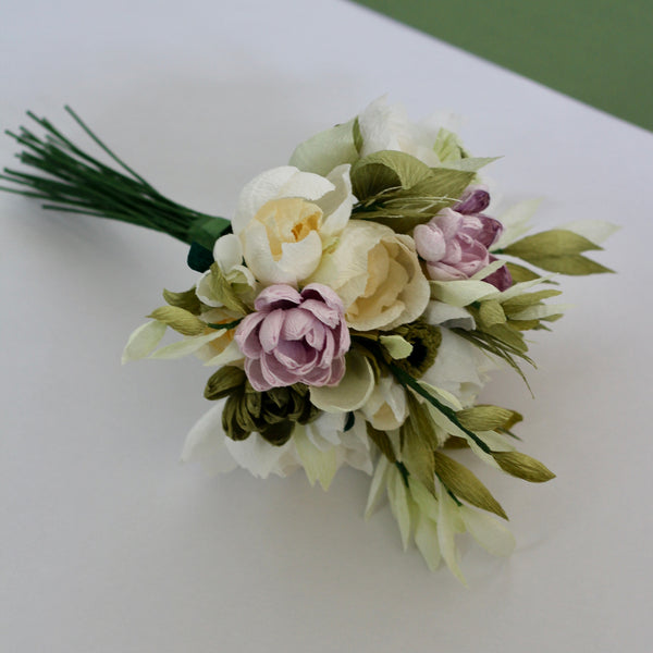 Dusky green, pink and cream bouquet