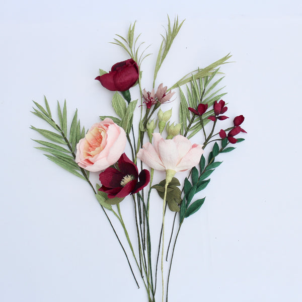 The Dark Red and Peachy Paper Bouquet
