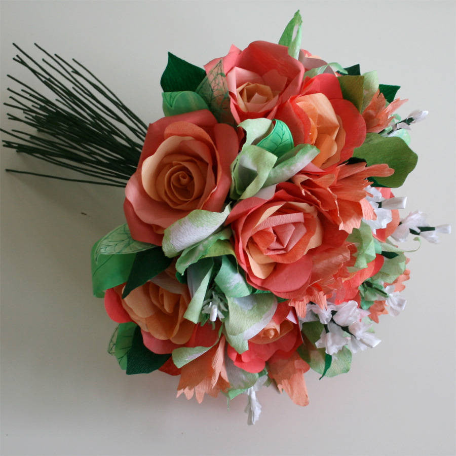 Coral Paper Rose Bouquet Paper Posies Ldn