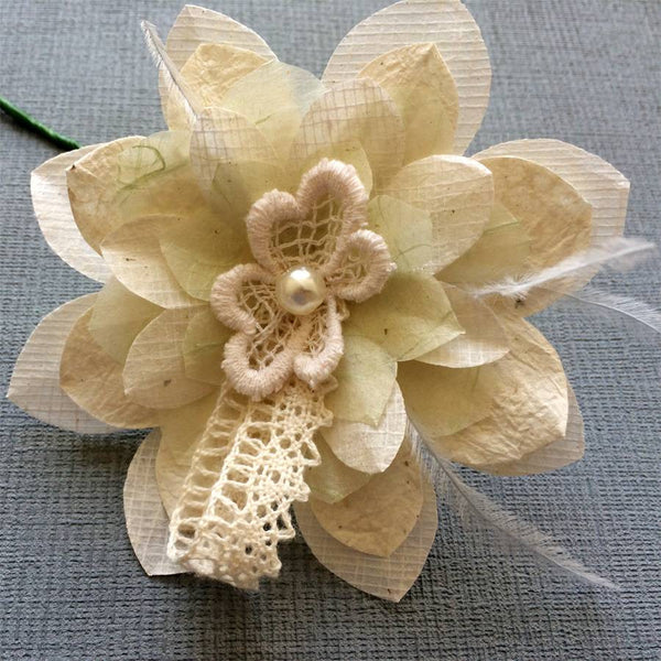 Pearl Paper Flower Buttonhole