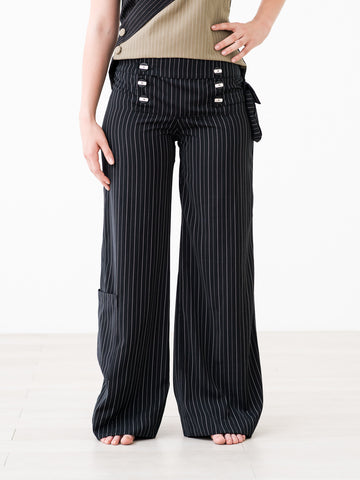 Fancy Pants ::: Wide-Leg Pinstripe Pants