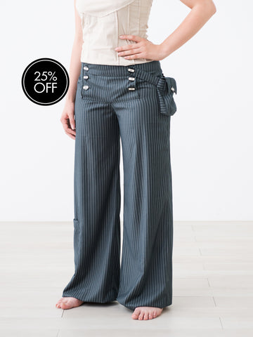Ladies Grey Pinstripe large Dress trousers
