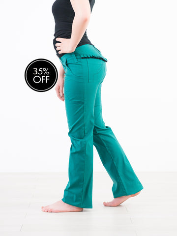 Bootleg Organic Cotton Green Jeans with frill behind.