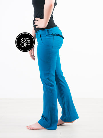 Turquoise Organic cotton jeans with frilly behind.