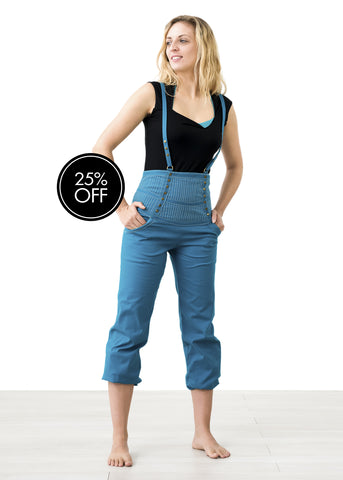 Teal High Waisted Suspender Pants