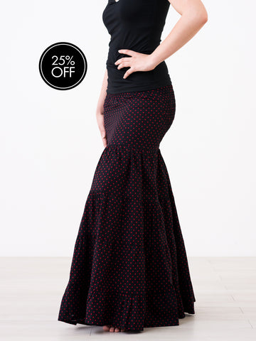 Full Flowy Skirt Black Cotton with Red Stars
