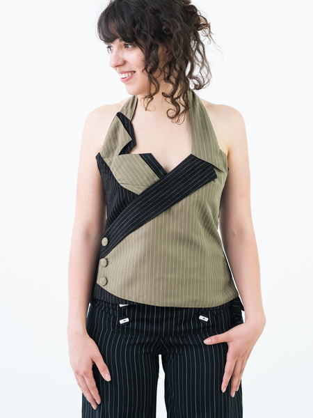 Ladies Backless Pinstripe Vest with coat-tails