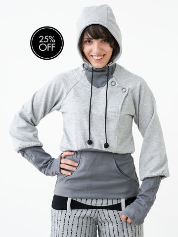 Feminine Hoody with Huge Snap Buttons