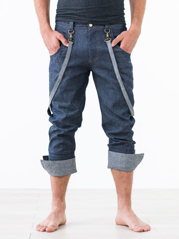 Hooky ::: Denim 3/4 Suspender Pants