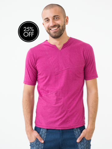 Asymmetric Pink Striped Mens T-shirt